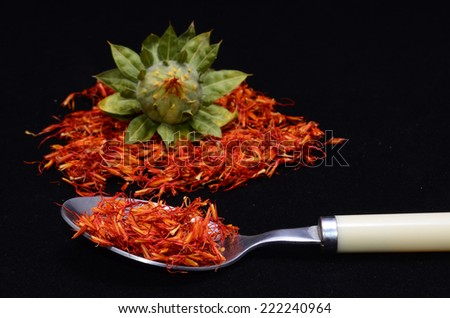 Saffron Flower Spice On a Black Background - stock photo
