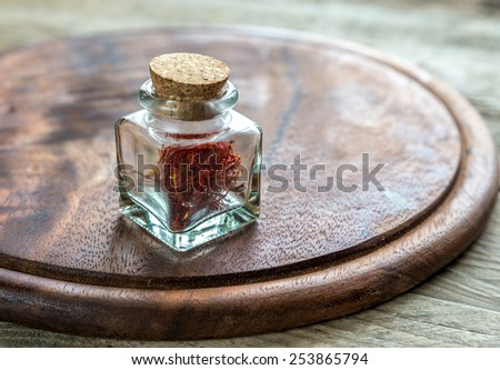 Saffron in the vial - stock photo
