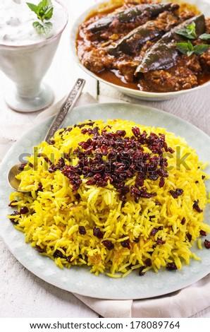saffron rice with berberis - sereshk polo - stock photo