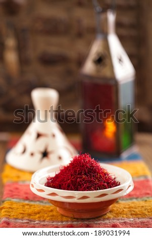 saffron spice in morocco souk, closeup, shallow dof - stock photo