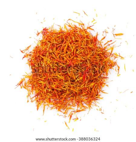 Saffron spice. Isolated on white background - stock photo