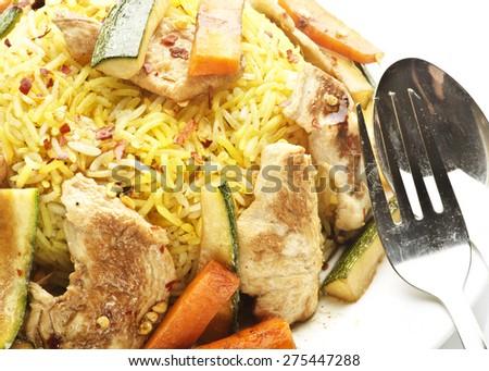 Safron  rice with turkish chicken - stock photo
