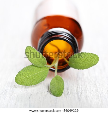 Sage herb leaves and an aromatherapy essential oil bottle - stock photo