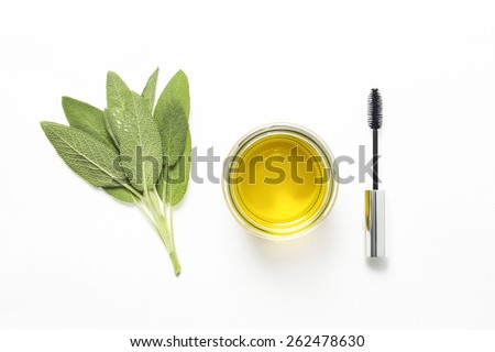 Sage Lash Conditioner,Fresh sage leaves with olive oil and mascara brush for Eyebrow Repair  - stock photo