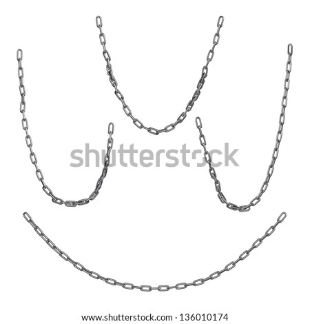 Sagging chains isolated on white - stock photo