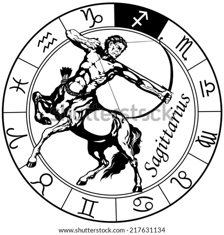 sagittarius the centaur archer, astrological zodiac sign, black and white isolated image - stock photo