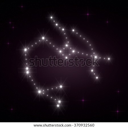 Sagittarius zodiac sign. Horoscope constellations background. Constellation map. Constellations background. Space stars wallpaper. Zodiac constellations. Galactic constellations and stars. - stock photo