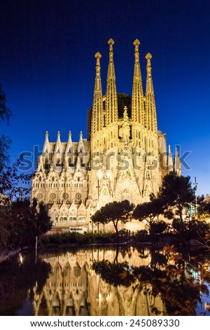 Sagrada Familia at night - stock photo