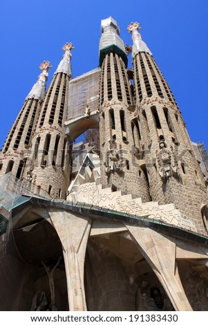Sagrada Familia, Roman Catholic church in Barcelona, Spain, designed by Antoni Gaudi - stock photo