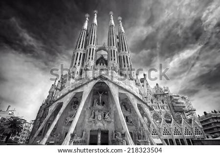 Sagrada Familia seen from the Passion Facade B&W - stock photo