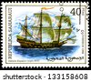 "SAHARA - CIRCA 1998: A stamp printed in Sahrawi Arab Democratic Republic, shows a Ancient sailing, with the inscription ""XVI century Spanish galleon"", from the series ""Ancient sailing"", circa 1998 - stock photo"