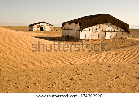 Sahara desert doors area scene, Zagora, Morocco - stock photo