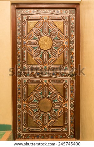 Sahara Desert MOROCCO DEC 29th 2014 : Traditional Moroccan style design of a doorway in local riad in Morocco - stock photo