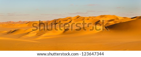 Sahara Desert Panorama - Sand Dunes in Libya - stock photo