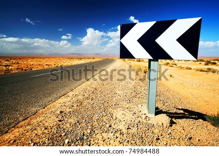 Sahara Desert road - stock photo
