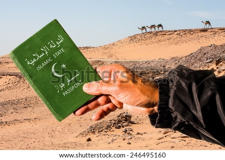 Sahara desert with camels in the background and a male arm holding a green passport with a white halfmoon and star. The words islamic state and passport are written in arabic and english language - stock photo