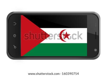 Sahrawi Arab Democratic Republic flag on smartphone screen isolated on white - stock photo