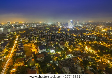 SAI GON, VIET NAM - OCT 23, 2014: When the light up on the Ho Chi Minh city
