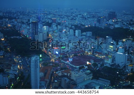 Sai Gon, Vietnam - June, 16, 2015: Cityscape of Sai Gon at night