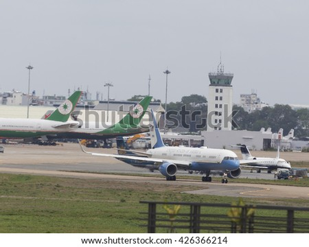 Sai Gon, Vietnam 25 May 2016: The Boeing C-32 aircraft carry the crew of the President of the United State of America Barack Obama prepare to take off at Tan Son Nhat International Airport  - stock photo