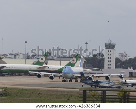 Sai Gon, Vietnam 25-5-2016: The Boeing VC-25A (747-200B) aircraft, Air Force One, carry President of the United State of America Barack Obama prepare to take off at Tan Son Nhat International Airport  - stock photo