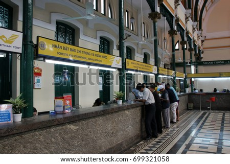Saigon Central Post Office interior, Ho Chi Minh City, Vietnam (January 2017)