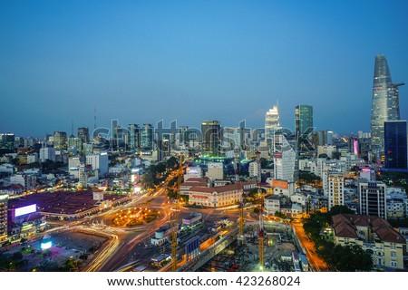 SaiGon city, HO CHI MINH, VIETNAM - November 2015 rush hour at Ho Chi Minh City. view Sai Gon from the high. - stock photo