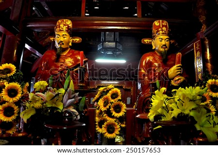 SAIGON - FEB 18: Newly renovated statues of emperors and Gods in the Jade Emperor Pagoda. On February 18, 2013, in Ho Chi Minh city (Saigon), Vietnam
