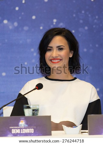 Saigon - May 8th, 2015: Demi Lovato at the press conference for the event YAN Beatfest 2015 in Viet Nam. - stock photo
