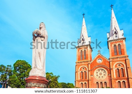 Saigon Notre-Dame Basilica in Ho Chi Minh City, Vietnam. It was constructed between 1863 and 1880.