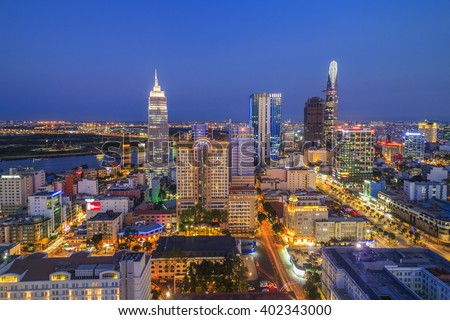 SAIGON, VIETNAM - APRIL 08, 2016 - Impression landscape of Ho Chi Minh city at night ,