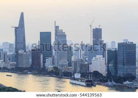 SAIGON, VIETNAM - DEC 23, 2016 - Impression landscape of Ho Chi Minh city at night , Saigon river flows through the city, this photo was taken at Sai Gon pearl building.