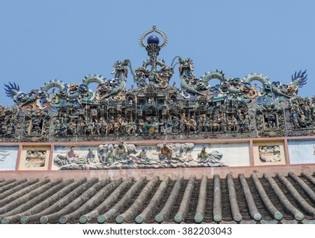 Saigon, Vietnam - January 26 2016: Dioramas on the roof of Thien Hau Pagoda, depict duels on horseback, arena fighting and dragons and turtles.