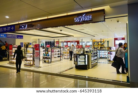 Saigon, Vietnam - May 15, 2017. Duty Free shops at Tan Son Nhat International Airport in Saigon, Vietnam. Tan Son Nhat is the busiest airport in Vietnam with 32.5 million passengers in 2016.