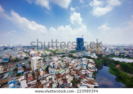 SAIGON, VIETNAM - OCTOBER 15, 2014. Ho Chi Minh city (or Saigon) skyline, Vietnam. Ho Chi Minh city is the biggest city in Vietnam. - stock photo