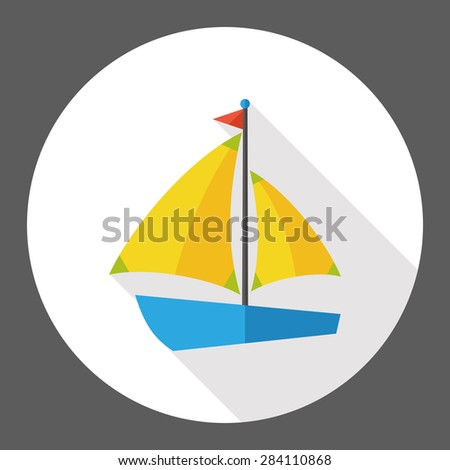 Sail Boat flat icon with long shadow - stock photo