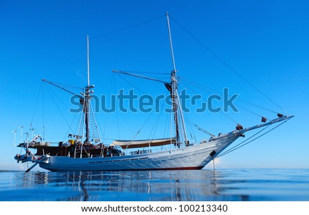 Sail boat in tropical blue calm sea