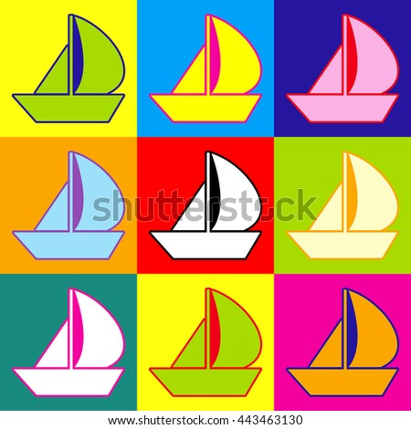 Sail Boat Sign Popart Style Colorful Stock Illustration 443463130