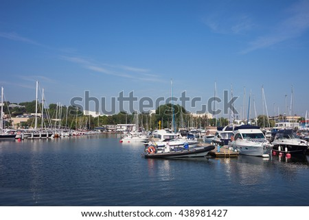Sail boats and yachts in marina on Baltic Sea in city of Gdynia in Poland