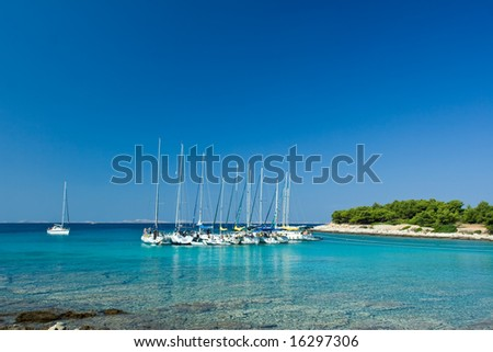 Sail boats docked in beautiful bay, Adriatic sea, Croatia - stock photo