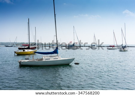 Sail boats moored in harbour, Toronto, Ontario, Canada - stock photo