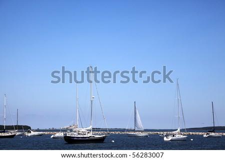 Sail boats mooring in the port at Sag Harbor, Long Island, New York - stock photo