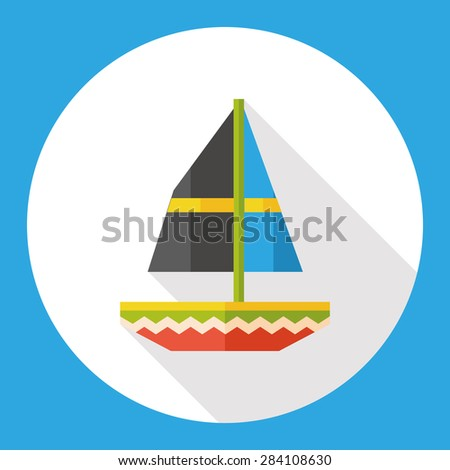 sail flat icon with long shadow - stock photo
