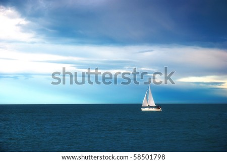 sail into calm blue sea