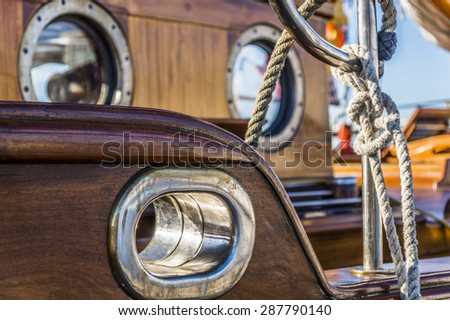 Sail ship detail. Cord. In the Gothenburg harbour. Knot - stock photo