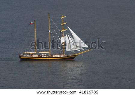 sail ship in the sea - stock photo
