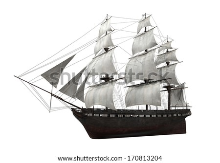Sail Ship Isolated - stock photo
