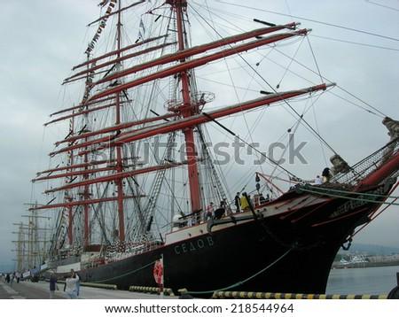 """Sail ship """"Sedov""""  participant  of  the SCF Black Sea Tall Ships Regatta  on May 14,  2014 in Sochi, Russia.   - stock photo"""