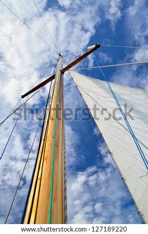 sail yacht mast close-up - stock photo