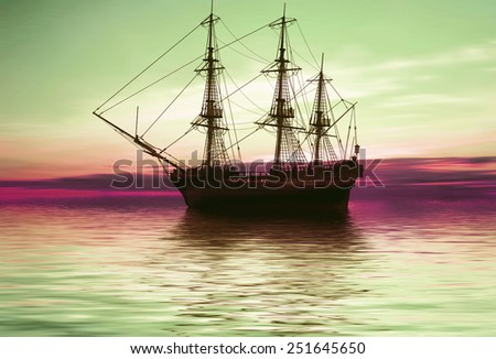 Sailboat against a beautiful landscape  - stock photo